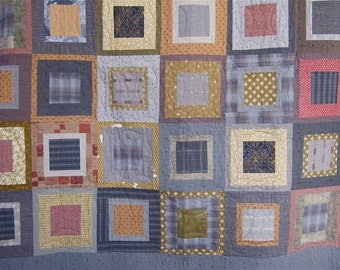 Patchwork Quilt - Double gold, clay and gray Japanese Square Pegs