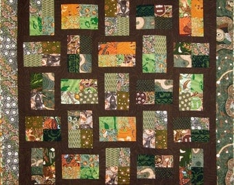 Patchwork Quilt - brown, orange and green Australian Fractions