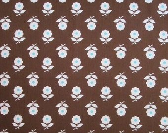 Japanese cotton print - 1/2 yard of brown flowers