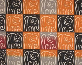 Zimbabwean hand printed and hand dyed batik - 1/2 yard of natural Elephants