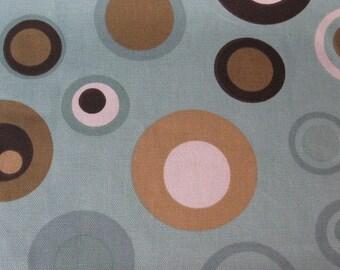 Japanese decorator print - almost 1 yard aqua and brown Circles