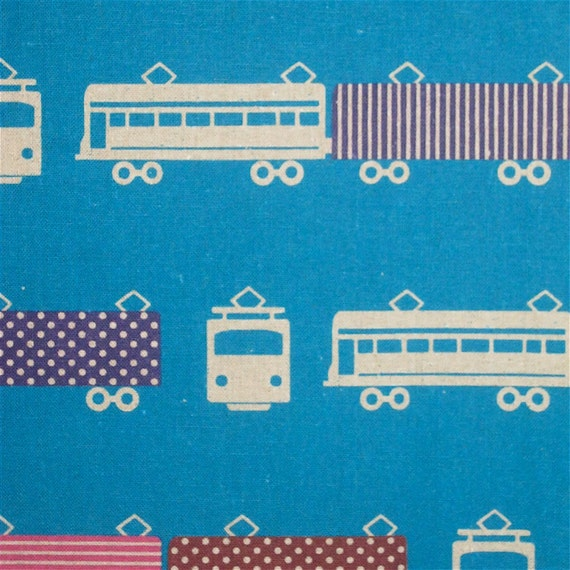 Echino decorator print - 1 metre of turquoise Train RESERVED for peahen