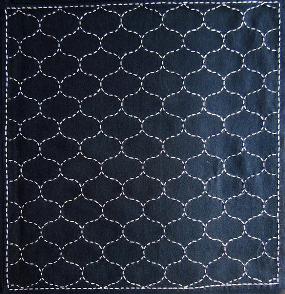 Japanese sashiko fabric - Amimon (fishing net) panel number 205