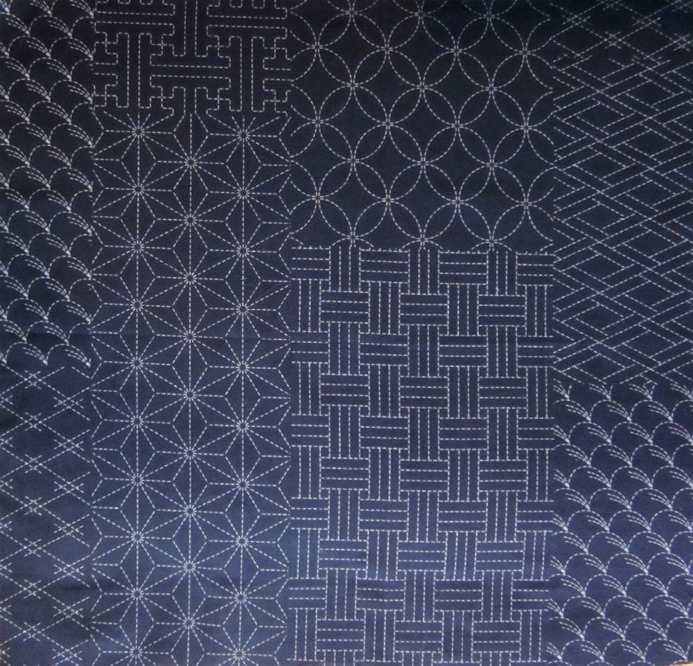 Japanese sashiko fabric one indigo patchwork fat quarter