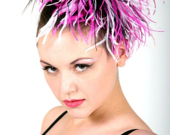 Custom Made Hot Pink, Black and White Ostrich Feather Fascinator By Taissa Lada, Bridal Headpiece, Feather Hair Clip, Flapper, Great Gatsby