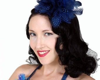 Custom Made Blue and Black Feather Fascinator By Taissa Lada,Speckled Feathers,Pin Up,Bridal Fascinator,Old Hollywood,Burlesque,Gothic,Retro