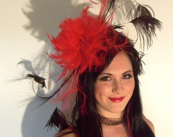 Custom Made Red and Black Feather Headband,Taissa Lada,Curled Ostrich Feathers,Flapper,Great Gatsby,Vaudeville,Burlesque,Old Hollywood,Retro