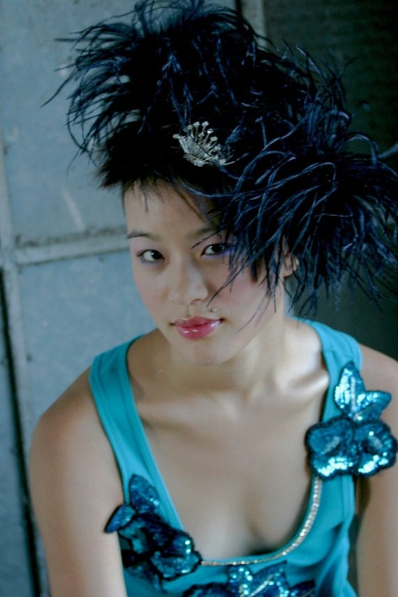 Custom Made Black Ostrich Feather Hair Clips By Taissa Lada Designs,Feather Hair Puffs,Cosplay,Steam Punk,Feather Clips,Ostrich Fascinator