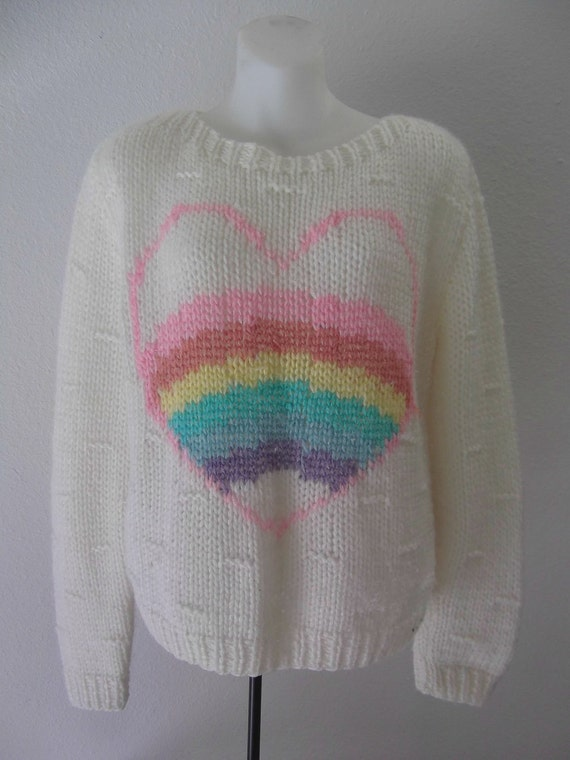 80s sweater / heart sweater / oversized sweater / Large / Xl
