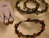 Knotty and Nice Bracelet,  Swarovski pearls, Chocolate brown leather,  size 7 with Sterling Silver clasp