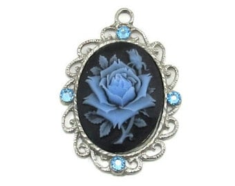 Single Neo Victorian 40x30mm Cameo Rose Pendant in Blue on Black with Light Blue Swarovski Crystal Accents