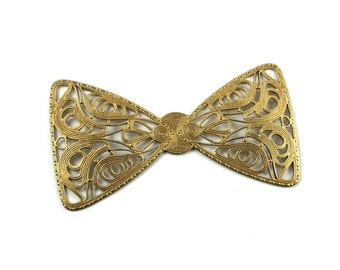 Large Raw Brass Filigree Bow Tie Embellishment with 13x18mm Center