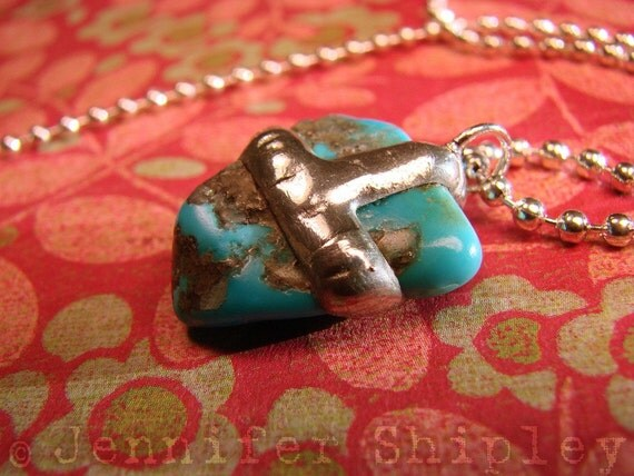Genuine Sleeping Beauty Turquoise Nugget Pendant in Silver