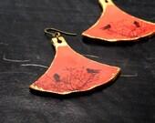 Bell earrings with birds in tree, Take flight leather bell earrings in auburn orange