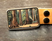 Redwood forest buckle. Belt. Leather. Trees. California. Forest. Woods.