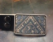 Groomsmen gift Stained glass leather belt buckle