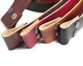 Hand dyed leather snap belts for your buckles