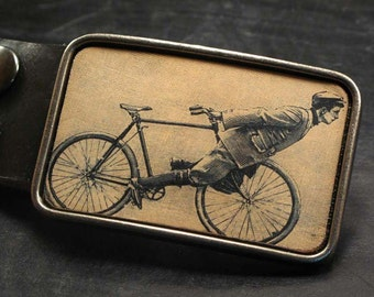 Bike belt buckle, vintage cyclist, Cycle trick leather belt buckle