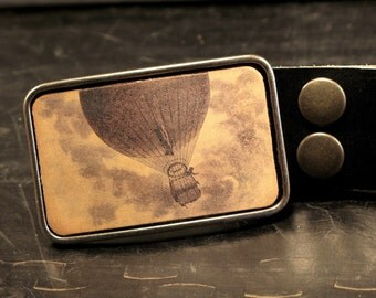Hot air balloon belt buckle, The bon voyage leather belt buckle in tan