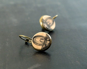 Leather earrings with Ferris Wheel, The Flight Bound studs