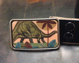 Dinosaur leather belt buckle
