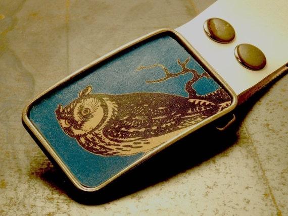 Owl belt buckle on blue, The night bound leather belt buckle