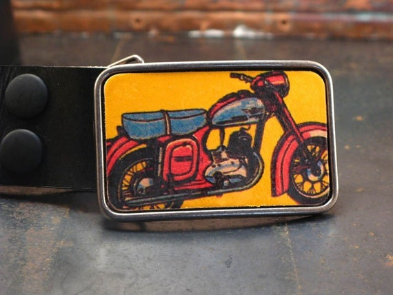 Retro Motorbike Ride leather bike buckle
