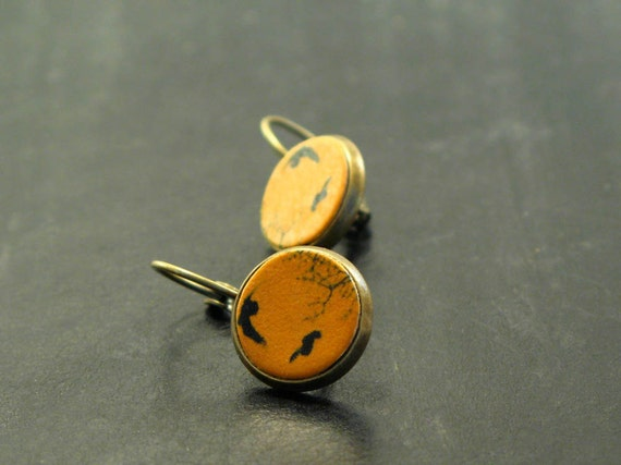 Bird earrings, The migratory small dropped leather studs earrings