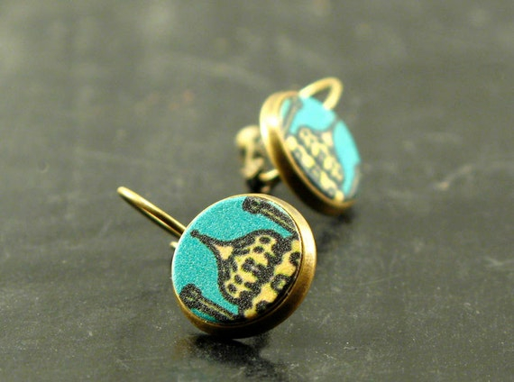 Stud earrings with buildings, Over the skyline leather dropped studs in turquoise