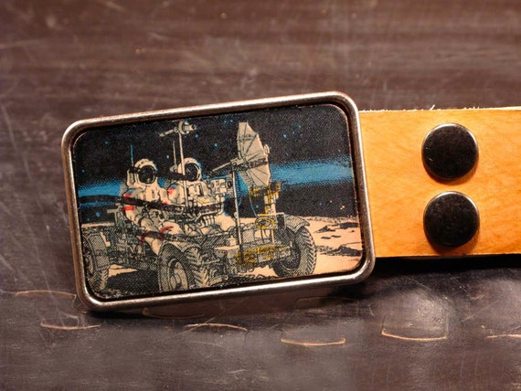 Retro astronomy belt buckle. Leather. Science gift.
