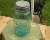 Sale Rare Antique Number 13 Thirteen Blue Ball Mason Jar with Zinc Lid Quart with Bubbles