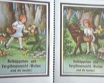 Vintage German Red Riding Hood and Big Bad Wolf  Litho Sticker Stamps