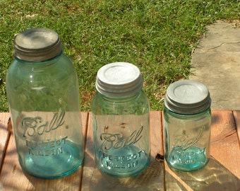 Vintage Blue Ball Mason Jars with Zinc Lids Set of Three Graduated Sizes Rare Large Half Gallon