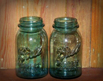 Vintage Blue Ball Mason Jars Quart Size Set of Two lot
