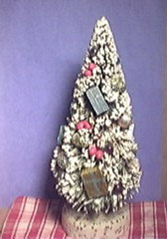 Large vintage Bottle Brush Tree Covered in Mecury Balls Berry Pinecones Gifts marked Japan