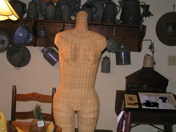 Large Vintage Wicker Display Mannequin Life Size Woman Torso Dress Form