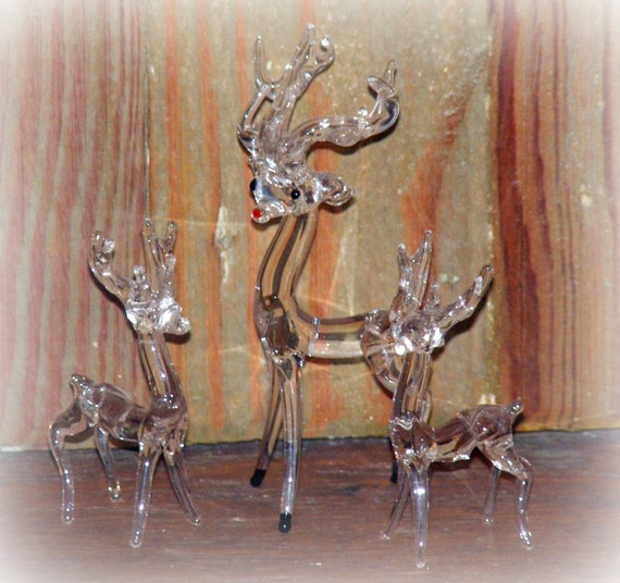 Sale Vintage Hand Blown Glass Deer or Reindeer Set