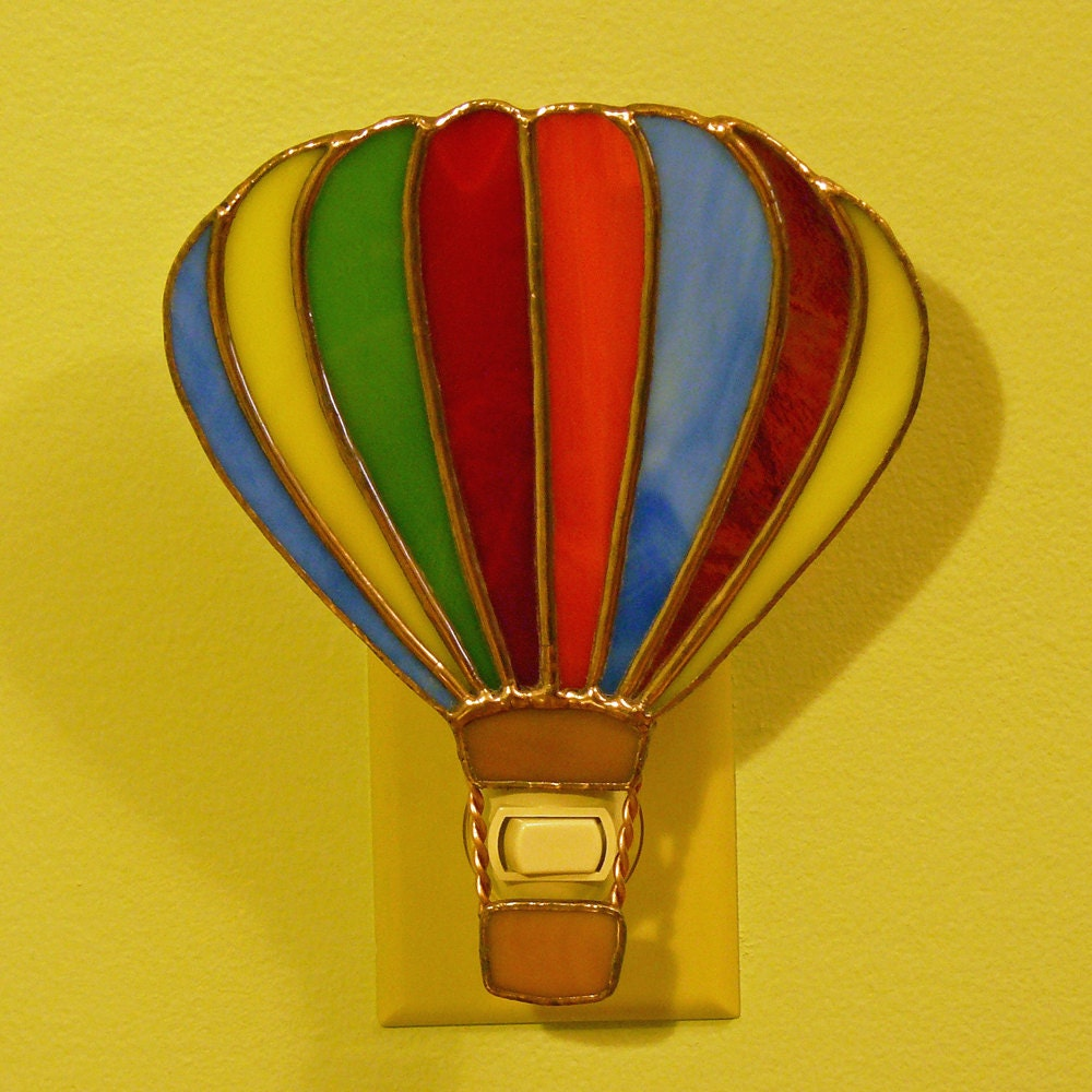 stained glass hot air balloon night lamp. Black Bedroom Furniture Sets. Home Design Ideas