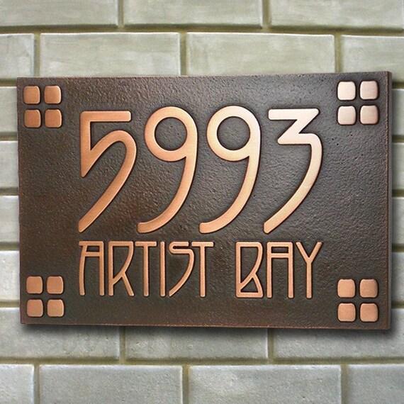 American Craftsman Address Plaque Bungalow, Mission, Frank Lloyd Wright