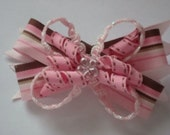 Pink and brown custom boutique bow