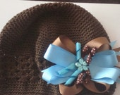 Brown  And Blue Custom Boutique Hair Bow With Beanie Hat