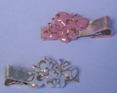 Pink White and Gold Butterfly Clippie Set
