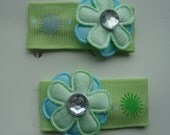 2 Blue Green Flower Clippie Set
