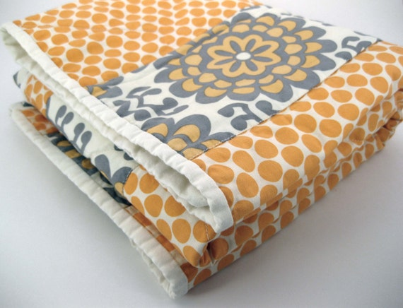 Baby Quilt - Amy Butler - Orange and Gray - gender neutral