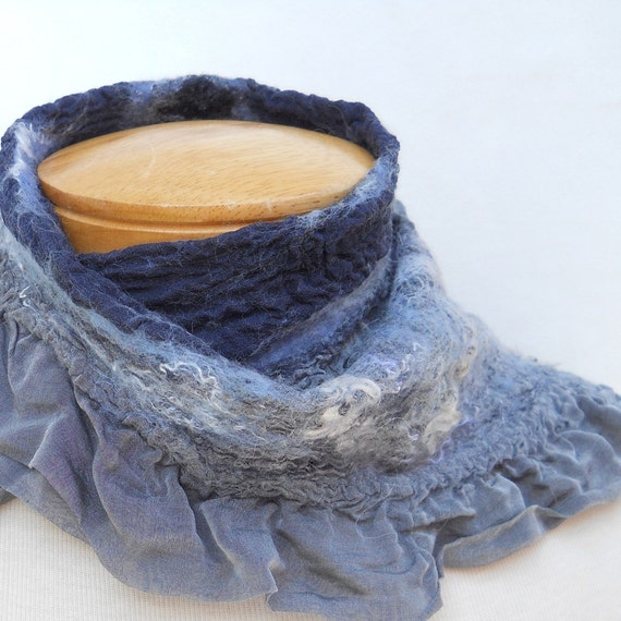 Nuno felt scarf.  Navy and grey. Textured silk and wool womens accessory. Delicate ruffles handmade by BlindSquirrel on Etsy.
