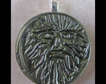 Green Man, New Age, Pendant, Polymer Clay,Unique Ancient Coin Style Pendant, GREENMAN, metaphysical, wiccan, pagan, Free Shipping