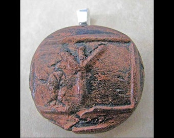 New Years Resolution,New Age, Wiccan,Viking, Pendant, Polymer Clay, Copper, Ancient Coin Style, Rune, ALGIZ,Protection,Jewelry