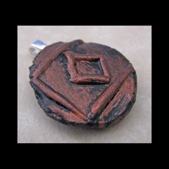 Peace, New Age, Wiccan, Viking, Pendant, Polymer Clay, Copper, Ancient Coin Style, Rune, INGWAZ, Pendant, Jewelry by Psychicmind101 on Etsy