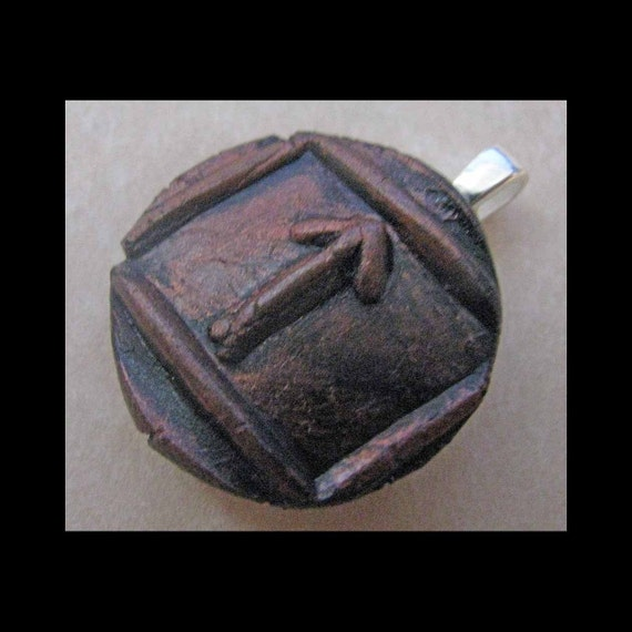 New Years Resolution,Leadership,New Age,Wiccan,Viking,Pendant,Polymer Clay,Copper,Ancient Coin Style,Rune,TIWAZ,Victory in Legal Matters