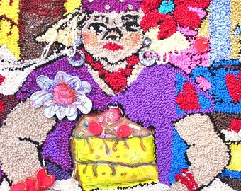 The Cake Lady  - A Hooked Collage Wall-Hanging
